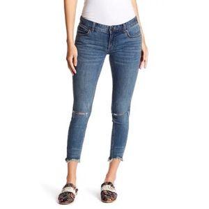 Free People Skinny Raw Hem Distressed Jeans